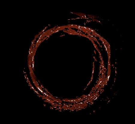 3D render of round chocolate splashes