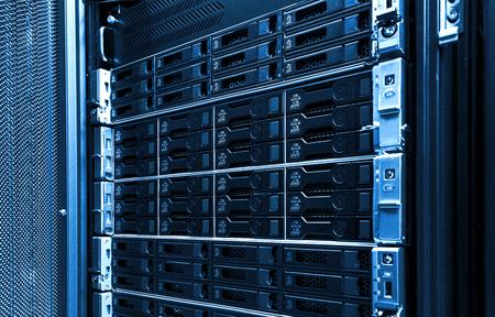 High capacity hard drive disk storage rack used for big data cloud services inside data server room 写真素材 - 120697254