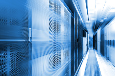 concept of high-speed computing of the modern computing technologies and data centers. Server room with flow tracers on top. Reklamní fotografie