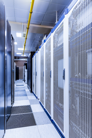 server room with racks of server equipment,concept of big data storage and cloud computing technology.