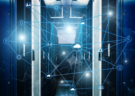 Telecommunication concept with abstract network structure and server room of modern data center background.