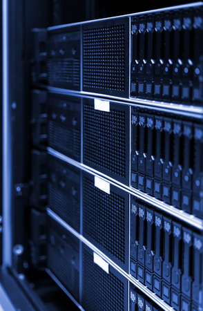 Close up view of modern computer server in dark tinting design. Networking, big data centre and high technology concept Stock Photo