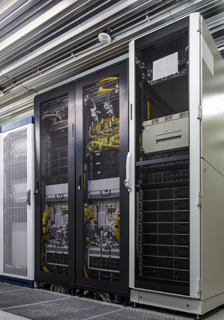 Server rack in big data center inside