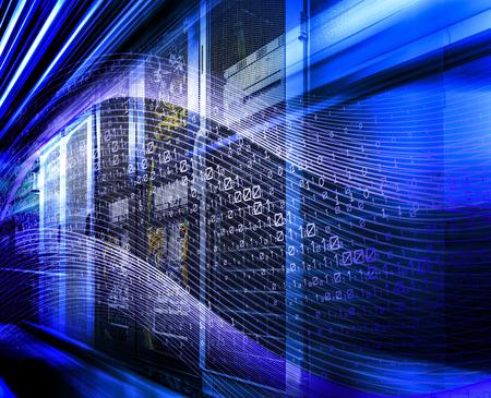 Futuristic computer binary data high speed hacker attack 3D rendering