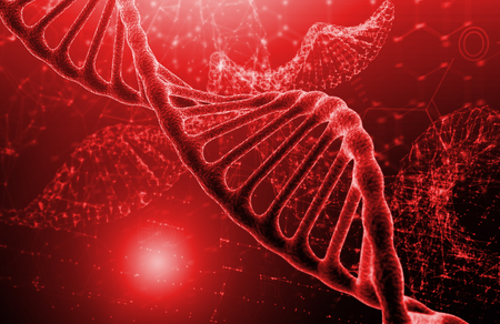 DNA molecule structure on red texture background. Biochemistry concept