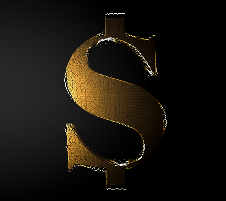 Pixelated symbol of US dollar currency made from cubes, mosaic pattern. 3D render