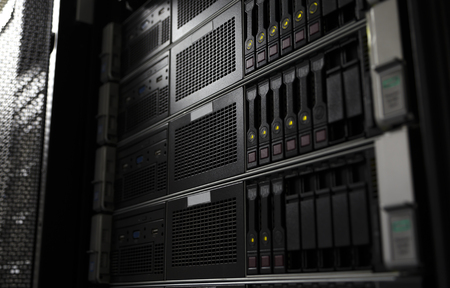 Rack mounted system storage blade servers background selective focus
