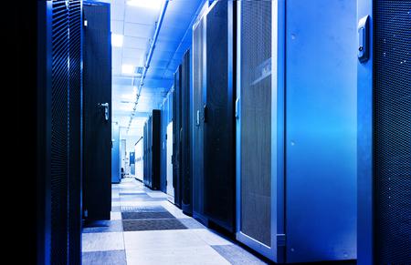 Rack server cabinet connection visualization lines. Computer server and technology information interface big data center background business concept. Digital composite motion blur 3d render