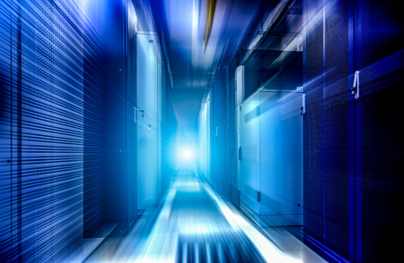 Big data storage center server room, modern web network, hosting domain, electronic device, cloud computing technology. Motion light blue and blur futuristic background