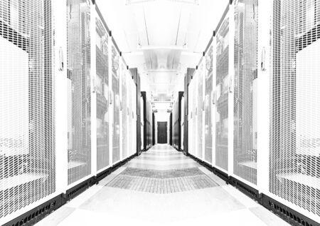 Bright server room data center storage interior