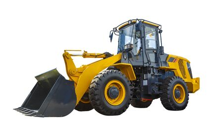 Grader and Excavator Construction Equipment isolated on the white background Stock Photo