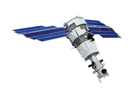 Orbital artificial earth satellite with blue solar panels on the sides surface probing isolated on white