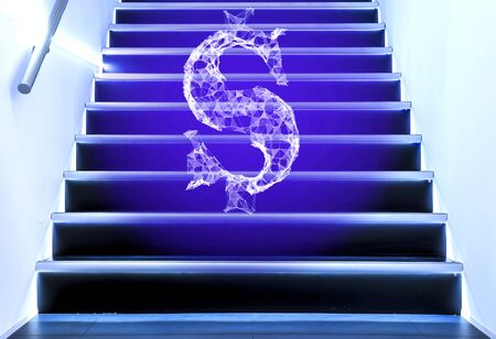 dollar sign of polygonal plexus particles on stairs, the concept of reducing and increasing the dollar. Stock Photo