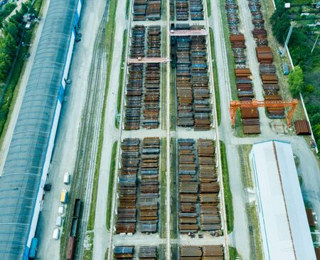 Top view of hangars. Hangar of galvanized metal sheets for the storage of agricultural products and storage equipment.