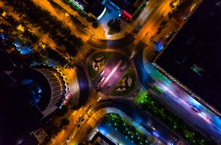 Aerial view roundabout interchange of a city, Expressway is an important infrastructure. 스톡 콘텐츠