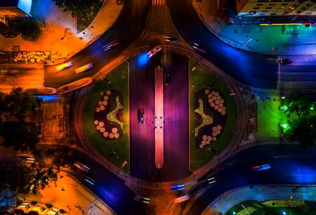 roundabout in city center with trams and cars top view night Foto de archivo - 129886369