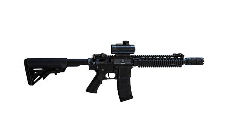 Carbine with ACOG optic and a foregrip isolated on white background