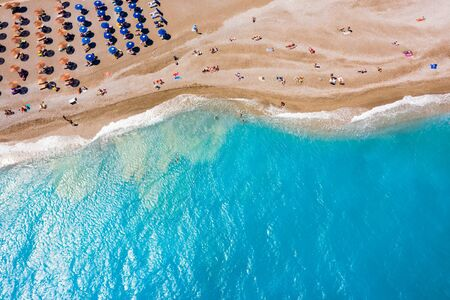 famous Ellie beach in Rhodes. sunbeds, beach, sand, waves, top view from the drone. The island of Rhodes Greece Reklamní fotografie