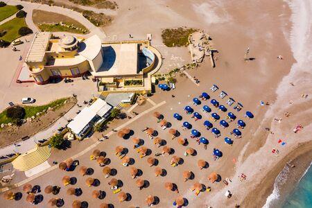 Rhodes island town Elli beach a popular summer tourist destination, Dodecanese, Aegean, Greece 스톡 콘텐츠