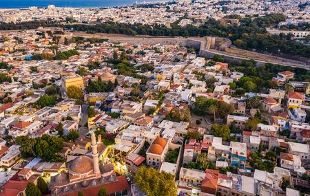 Rhodes old town aerial panoramic view in sunset Rhodes island in Greece