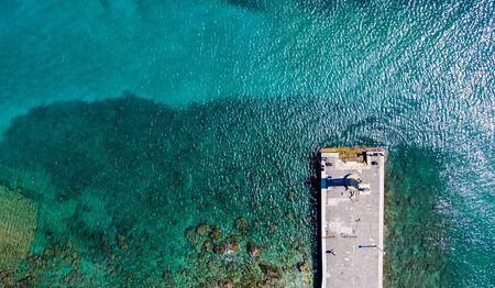 promenade by the sea with a transparent bottom, Rhodes, drone view