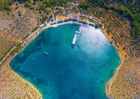 Bay of panormitis Symi island view from above with drone