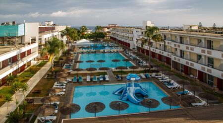 view of beautiful modern hotel on shores of the Aegean Sea Rhodes Greece