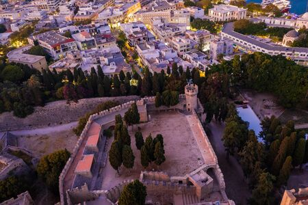 Aerial birds eye view photo taken by drone of Rhodes island old fortified town, popular tourist destination, Dodecanese, Aegean, Greece