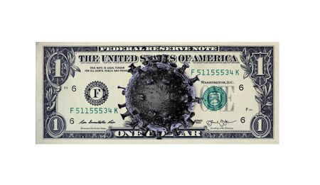 Coronavirus in USA. Montage of a banknote of 1 US dollars with a virus 3D model instead of a portrait. A global threat to the global economy from an outbreak of coronavirus and a pandemic.