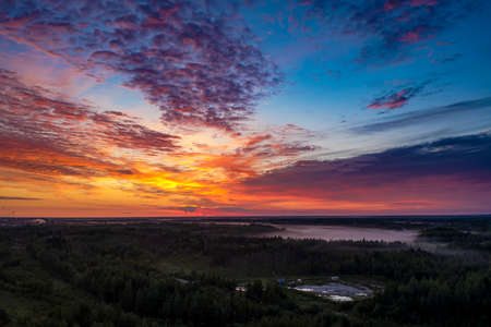 Low Cumulus cloud cover over forests swamps and fog. Khanty-Mansiysk. Western Siberia. Russia