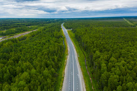 Straight road through the green pine forest. spring landscape. aerial view.