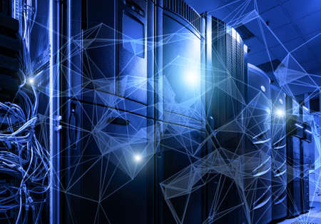 Abstract 3D wireframe neural cells and network data center server room