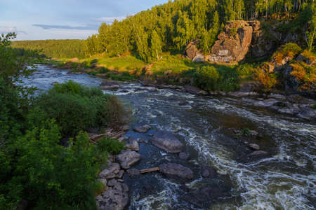 One of the popular tourist places near Yekaterinburg, the river Iset threshold revun, a close-up view of the whirlpools and the river