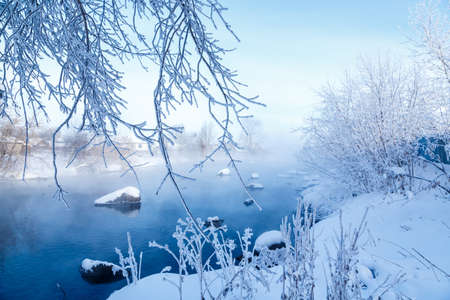 winter landscape with a snow-covered river bank, trees covered with hoarfrost, fog and the rising sun over the river