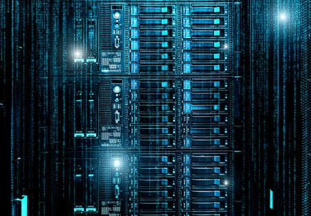 3D render Blade server in rack cluster hard drives storage tapes in internet data center room motion binary. 版權商用圖片