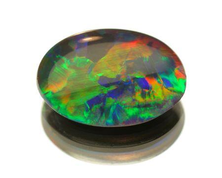 cabochon: Opal nera isolata on white Archivio Fotografico