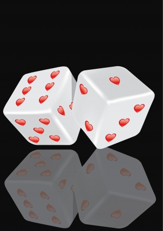 Rolling the dice with hearts on a black background. Illustration