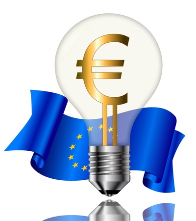 Light bulbs with Euro sign and flag on white background.