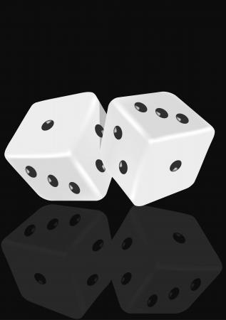 White dice on a black background Illustration