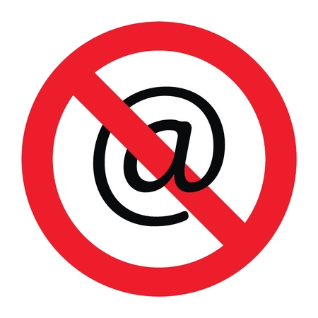 Vector illustration of a sign showing that emailing is forbidden. Vector