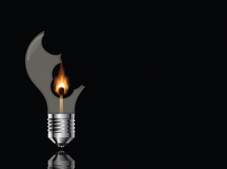 Broken light bulb with a burning match on a black background