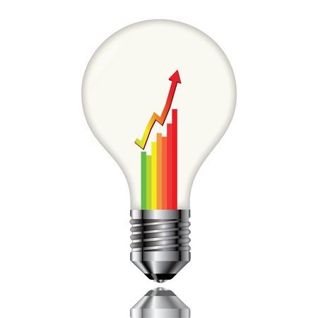 consommation: Ampoule avec un tableau de la consommation d'�lectricit�