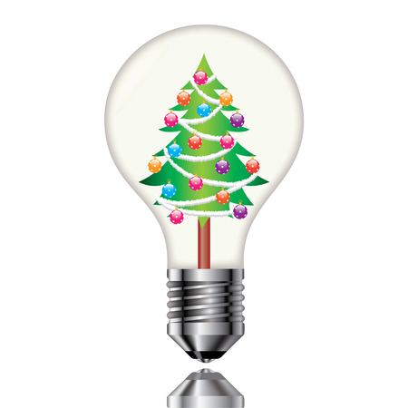 Christmas tree in a light bulb on a white background  Illustration