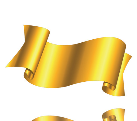 Beautiful golden ribbon on a white background