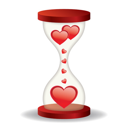 Hourglass with hearts on a white background