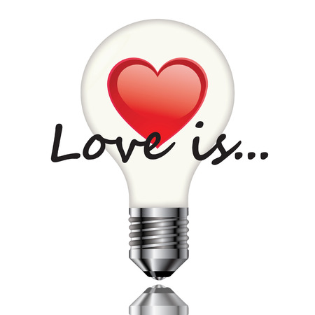 Light bulb with heart and lettering on a white background