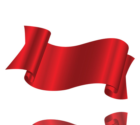 Beautiful red ribbon on a white background Illustration
