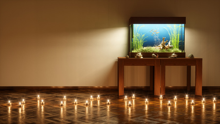 Fresh water aquarium in empty room with candles on the floor 3d render