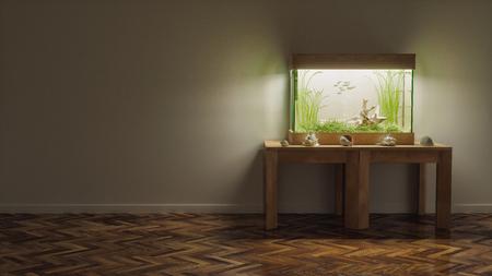 Fresh water aquarium in dark empty room 3d render
