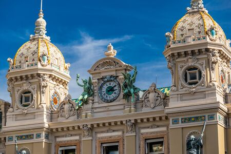 Monaco, Monte-Carlo, 02 October 2019: The main sight of the principality casino surrounded with the green trees, the updated facade, sunny day Éditoriale